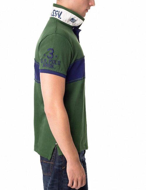 Camiseta Polo US Polo Assn Slim Fit USPA franja verde oscuro