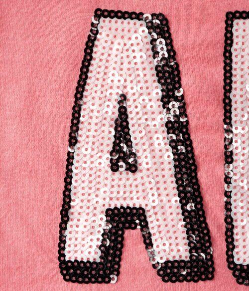Camiseta Aeropostale Graphic T con lentejuelas coral