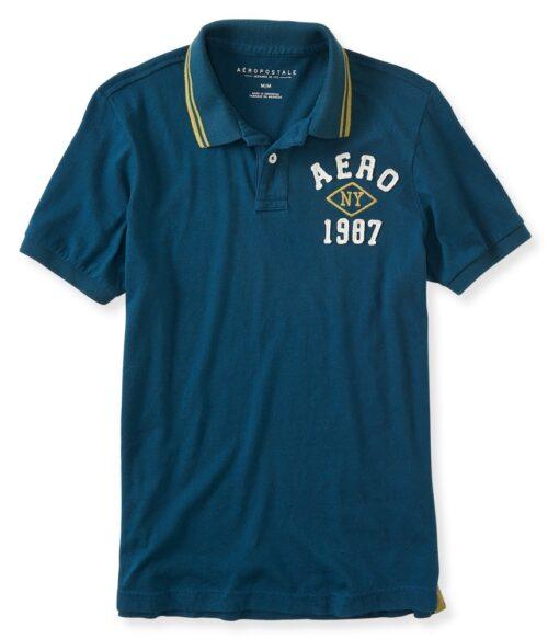 Camiseta Polo Aeropostale NY 1987 Logo azul verdoso