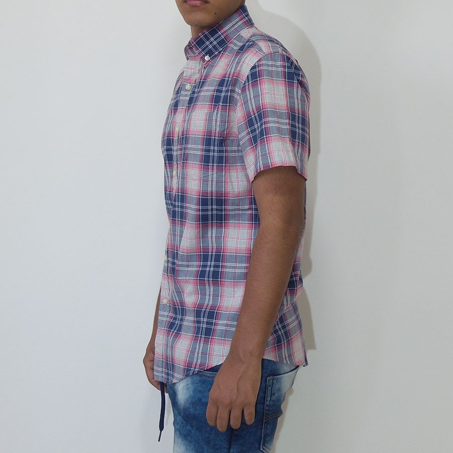 Camisa Sonoma manga corta con bolsillo a cuadros azul acero